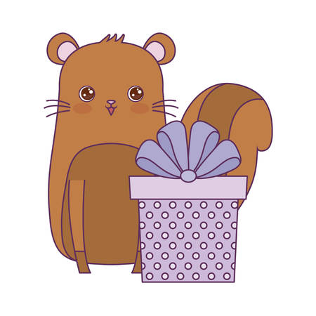 cute chipmunk animal with gift box vector illustration design Illustration