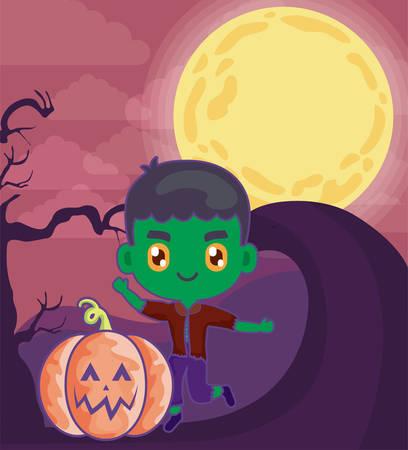 boy disguised of frankenstein with pumpkin vector illustration design Иллюстрация