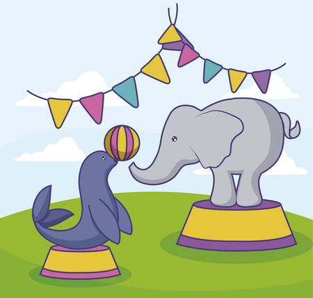 seal and elephant of circus vector illustration design