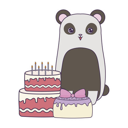 panda bear with cakes of birthday vector illustration design Illustration