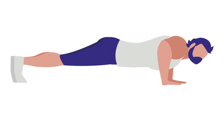 Strong athletic man doing push-ups vector illustration design