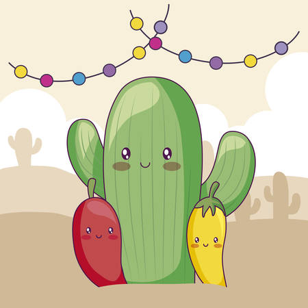 cactus with chili peppers and garlands kawaii vector illustration design Standard-Bild - 130818915