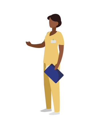 black female medicine worker with uniform character vector illustration design Ilustracja