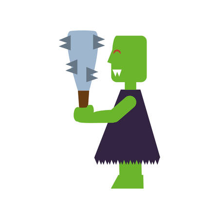 monster of video game and bludgeon with thorn vector illustration design 일러스트