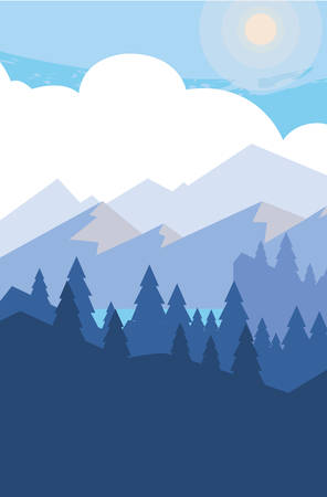 mountains with forest snowscape scene vector illustration design Illustration