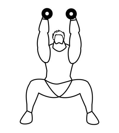 athletic man weight lifting character vector illustration design