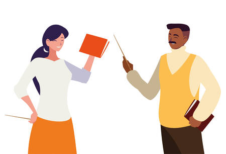 interracial teachers couple characters vector illustration design