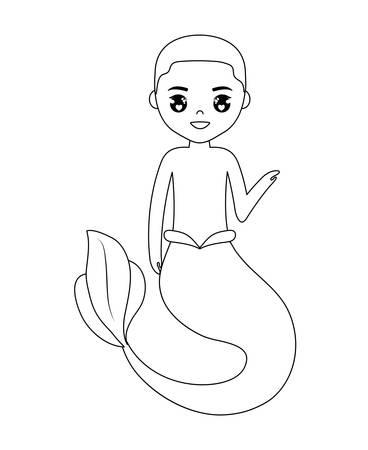 mermaid male avatar character vector illustration design