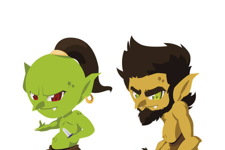 ugly troll with caveman gnome magic characters vector illustration design Фото со стока - 130920556