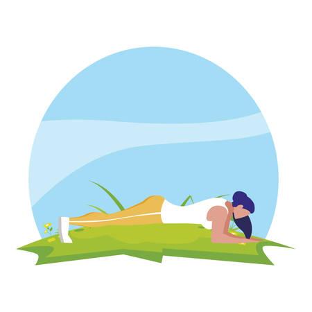 Mujer atlética haciendo flexiones en el campamento, diseño de ilustraciones vectoriales