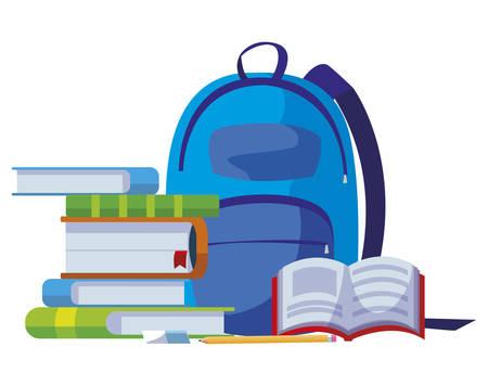 school bag with text books vector illustration design Stock Illustratie