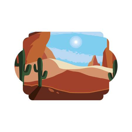 desert dry with cactus landscape scene vector illustration design