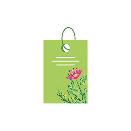 tag with decoration of flowers vector illustration design