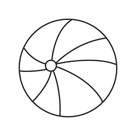 beach ball outline sketch on white background vector illustration
