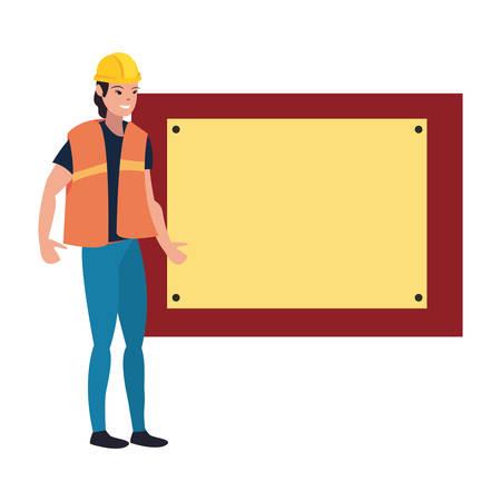 construction woman worker board vector illustration design image