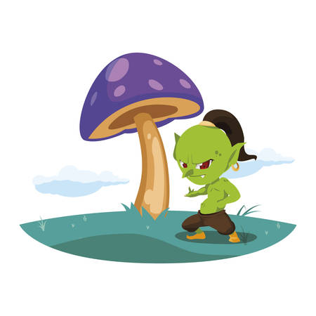 ugly troll in the camp magic character vector illustration design Иллюстрация
