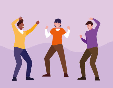 group of young men happy jumping celebrating vector illustration design