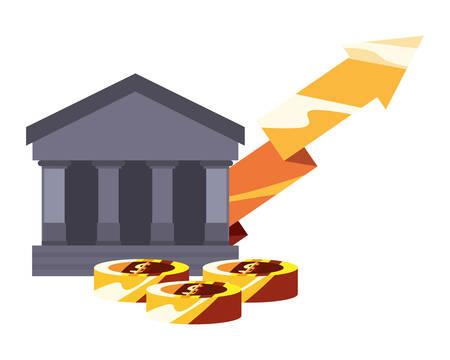 business gold arrow money coins vector illustration Иллюстрация
