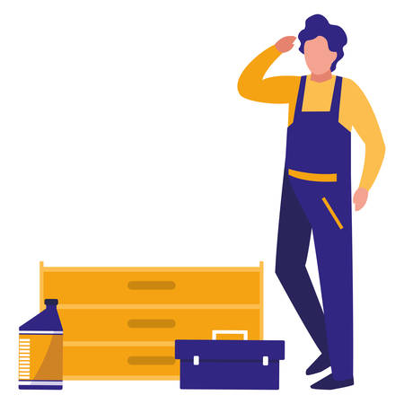 mechanic worker with toolbox vector illustration design