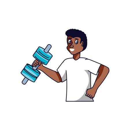 afro man athletic with dumbbell avatar character vector illustration design