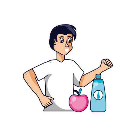 man athletic with apple and bottle of water vector illustration design