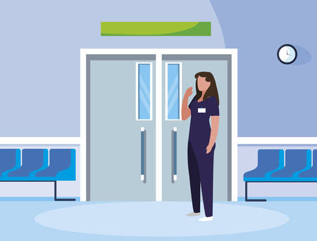 female medicine worker in elevator door vector illustration design