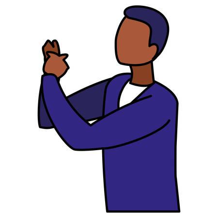 black musician jazz character vector illustration design