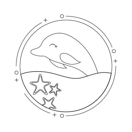 cute dolphin with sea in frame circular vector illustration design Çizim