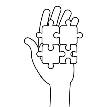 hand with puzzles autism awareness day vector illustration