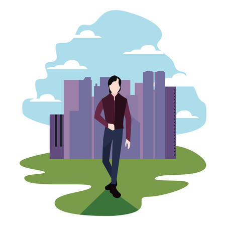man standing in the city activity vector illustration