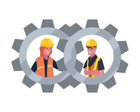 construction worker male female gears vector illustration design  イラスト・ベクター素材
