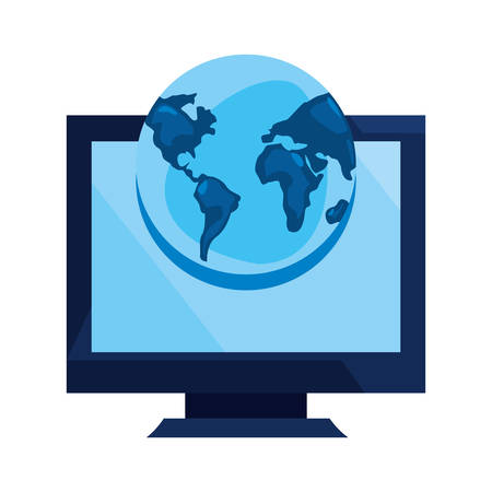 computer world cybersecurity data protection vector illustration