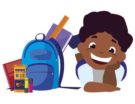 happy little black schoolboy with schoolbag and supplies vector illustration design
