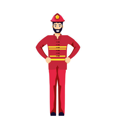 firefighter professional avatar character vector illustration design Stock Illustratie