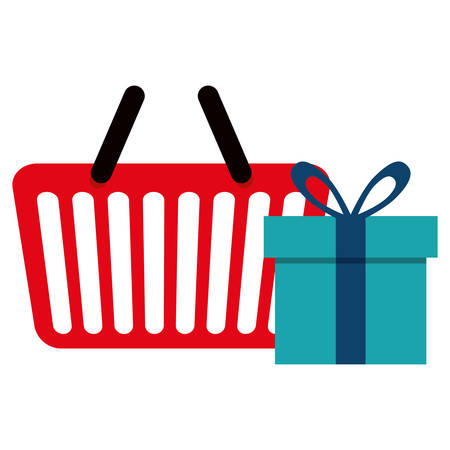 shopping basket with gift box vector illustration design