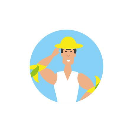 man brazilian dancer in frame circular vector illustration design
