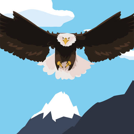 beautiful bald eagle flying in the snowscape vector illustration design Stock Illustratie