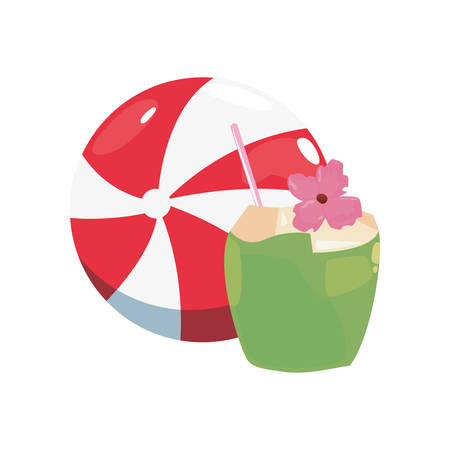 summer time holiday beachball and cocktail coconut vector illustration
