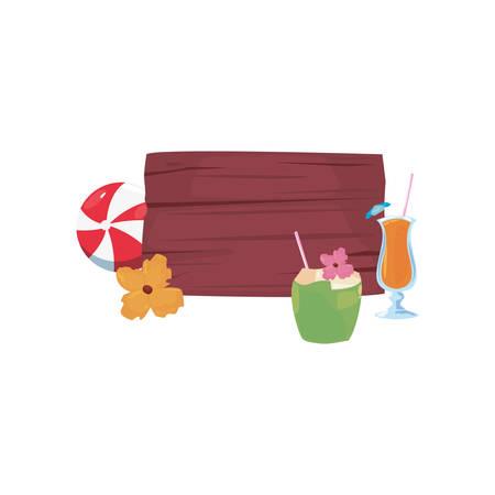 summer time holiday wooden lettering cocktails ball flower vector illustration