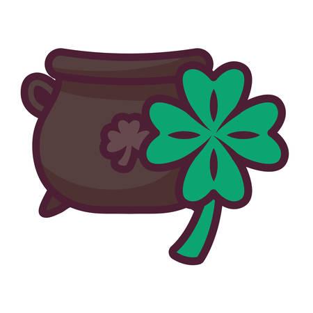 st patricks day cauldron with clover vector illustration design Ilustrace