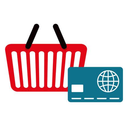 shopping basket with credit card vector illustration design Illustration