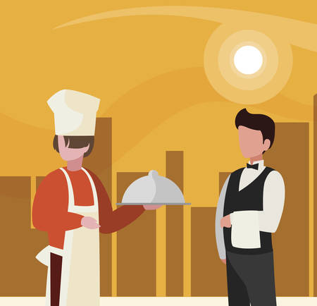 couple of professional workers in cityscape at sunset vector illustration design
