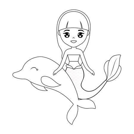 cute mermaid with dolphin animal vector illustration design Çizim