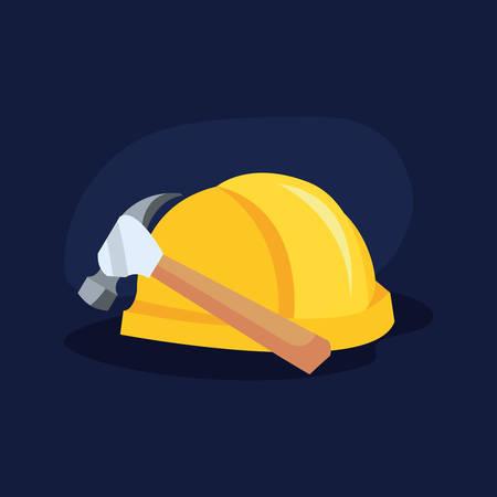 helmet gear hammer tools vector illustration design