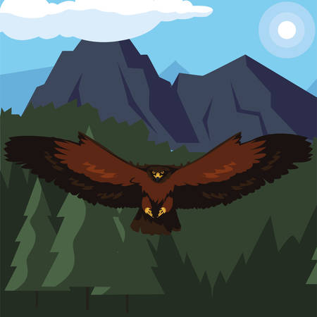 beautiful eagle flying in the landscape majestic bird vector illustration design Stock Illustratie