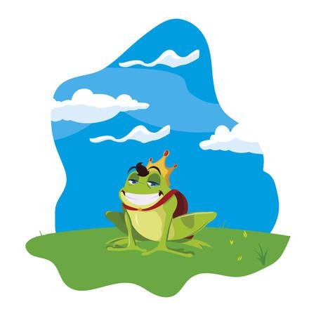 toad prince in garden fairytale character vector illustration design Illustration