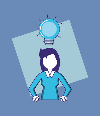 woman with bulb light vector illustration design