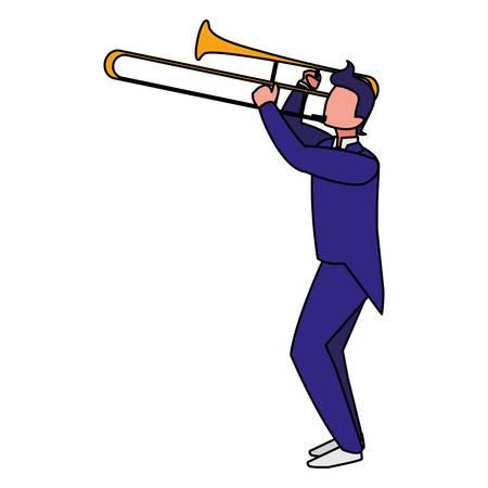musician playing trumpet character vector illustration design Ilustração