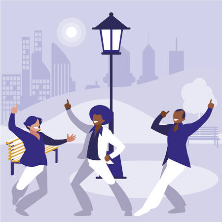 interracial dancers group dancing in the park vector illustration design