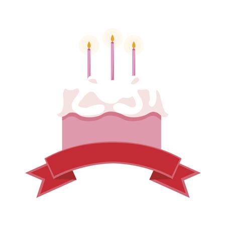 sweet cake birthday with ribbon frame vector illustration design Ilustração